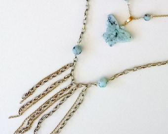 Raw Brass and Mint Sesame Jade Butterfly Multi Strand Fringe Necklace
