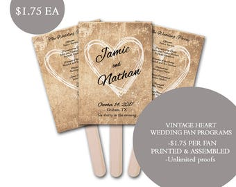 Vintage Heart Wedding Fan Program, Modern Wedding Program fans, Wedding program fans, personalized wedding fans, rustic wedding