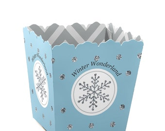 Winter Wonderland - Personalized Candy Boxes - Personalized Snowflake Holiday Party & Winter Wedding - Favor Boxes - Set of 12