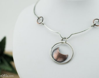 Moon pendant necklace, metal work, sterling silver and copper, mixed metal, celestial jewelry, handmade, nickel free