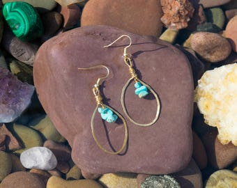 Turquoise and Hammered Wire Earrings