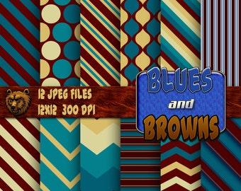 Blue Brown digital paper, digital download, instant download, background