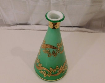 Hand Blown Bud Vase with 18 Kt Gold Decoration