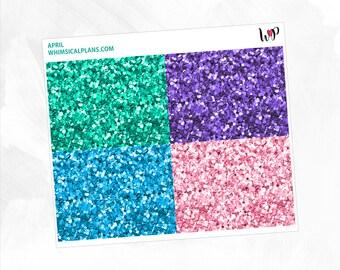 April Glitter Headers | Matte Glossy Planner Stickers
