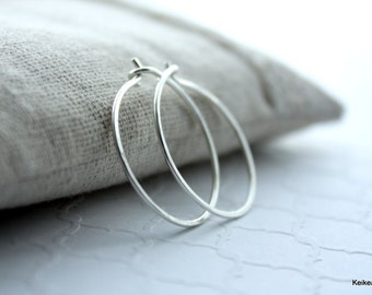 Hoop Earrings, Silver Hoop Earrings, Sterling Silver Hoops, Hammered Hoop