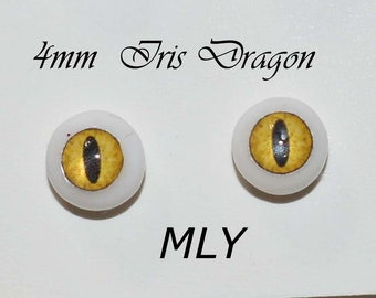 Hand Made Dragon Eyes 7mm - Yellow MYL- Fantasy - Character - Creature - Reptile OOAK