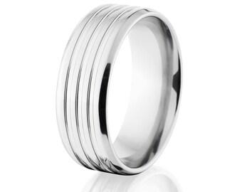 Cobalt Ring Wide Cobalt Wedding Band Custom USA Made Wedding Ring : CB-8B3G-P