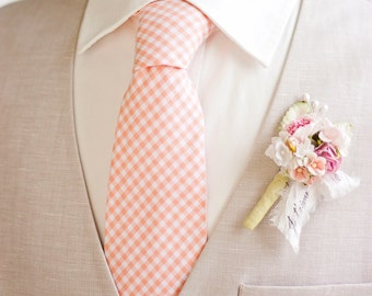 Necktie, Mens Necktie, Neck Tie, Groomsmen Necktie, Ties, Tie, Wedding Neckties, Peach Necktie, Gingham Necktie - Peach Gingham