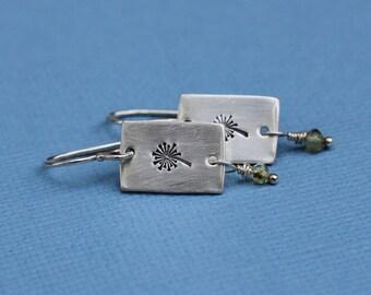 Wish Dandelion Earrings; Sterling Silver and Peridot Earrings