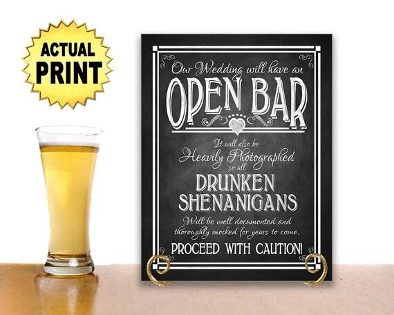 Open Bar Wedding Sign | PRINTED Open Bar Sign, Wedding Sign, Rustic Wedding Decor, Barn Wedding, Chalkboard Wedding Sign, Wedding Signage