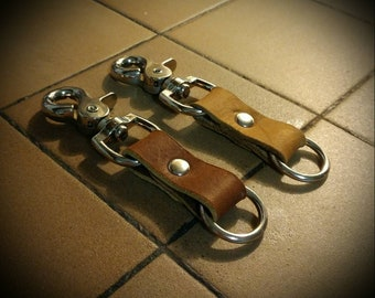 Stainless Steel Leather Key Fobs