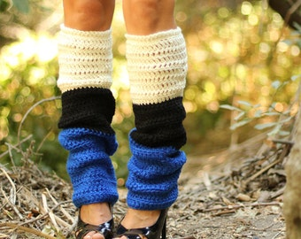 Color Block Leg Warmers - Royal Black Ivory