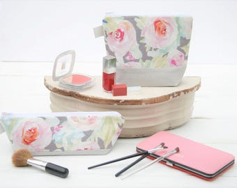 Cosmetic Makeup Bag, Zipper Pouch, Travel Bag, Pencil Case in Silver Linen and Tender Flowers Zipper Bag by Oh Koey