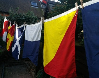 Vintage signalling flags. Set of seven.