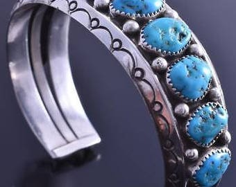 Vintage Silver Sleeping Beauty Turquoise Square Row Navajo Bracelet by SC 8A08B