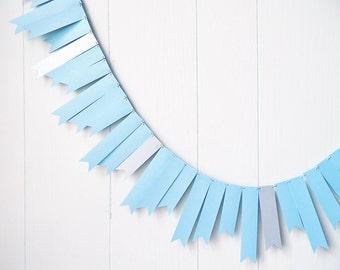 Baby Blue and Silver Garland / Wedding Garland / Baby Shower Decor/ Gender Reveal / Bunting / Flag Fringe Garland Shiny / Photo Prop