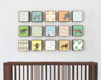 safari nursery Art, jungle nursery decor, animal prints, zoo animals Choose (15) FIFTEEN Custom Designs 5x5 ,Nursery Art, redtilestudio