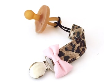 Cheetah Pacifier Clip with Bow