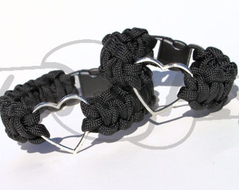 Tibetan Silver Heart Charm on 550 Paracord Survival Strap Bracelet with Plastic Contoured Side Release Buckle