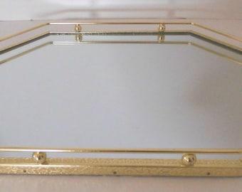 Vintage Mirror Vanity Tray Dresser Mirror Bright Yellow Gold Color Very Pretty Bedroom & Bathroom Mirror perfect go along vintage jewelry