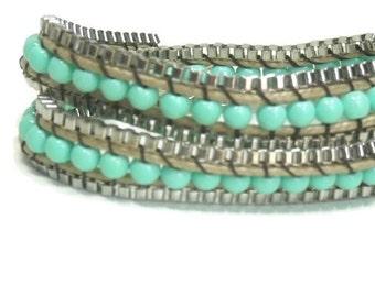 Sale  Turquoise Wrap Bracelet - Beaded Bracelet - Turquoise Bracelet - Rhodium - Multi Strand - Multistrand - Boho - Hippie - Stackable - St