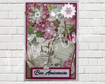 Floral happy birthday card: A cheerful and made original birthday card handmade!