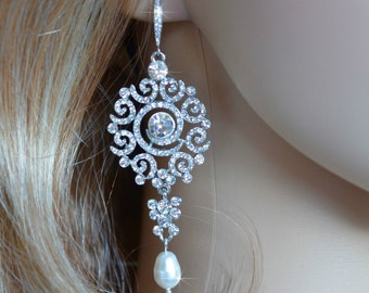 Handmade Vintage Inspired Crystal Rhinestone and Pearl Chandelier Earrings, Bridal, Wedding (Pearl-261)