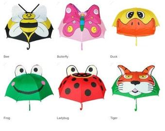 Children's Animal Umbrella, Kids Umbrella, Animal Umbrella, Monogram Umbrella