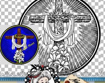 Easter Cross Resurrection, Clipart, Illustration, Line Art, Digital Stamp, Digi, Instant Download, ID:NV-DS0030 By Nana Vic