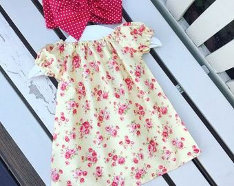Can be personalised BABY Toddler GIRL DRESS cotton lemon red roses yellow fabric 0-3 months 3-6 months 6-12 months 12-18 months 18-24 months