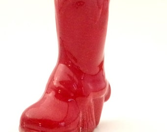 Red Ceramic Cowboy Boot