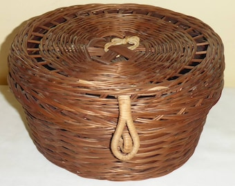 Vintage Hand Woven Sewing Basket With Lid