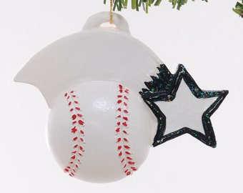 Personalized baseball Christmas ornament with black team color star - personalized with name, team name, number and or year (136)