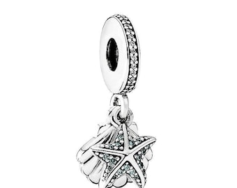 Authentic Pandora Tropical Starfish and Sea Shell Dangle Charm with Czs