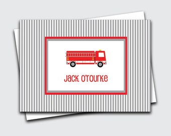 Birthday Gift Thank You Notes / Fire Truck Notecards / Personalized Note Cards for Boy / Stationery / Fireman Fold Over Notes (1702-013FO)