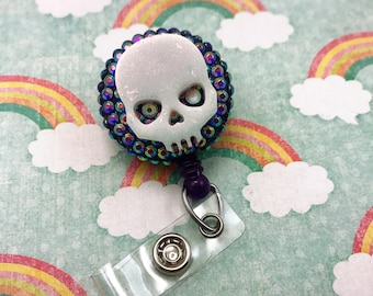 Creepy Cute Halloween Resin Spooky Skull Purple Punk Goth Nurse Cna Technician Retractable ID Badge Reel Work Name Tag RN Holiday