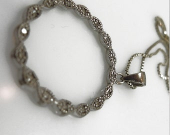 """Vintage Circle Pendant w/ 16 Small Diamonds Set In Sterling Signed LXX on 17"""" Chain #66240"""
