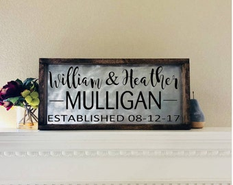 Wedding Established Sign, Last Name Sign, Anniversary Gift, Wedding Date Sign, Farmhouse Decor, Personalized Wedding Sign Metal Family Name