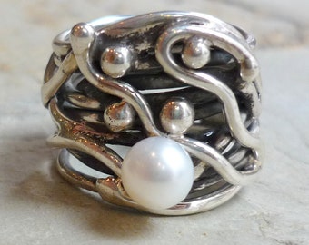 Sterling Silver Ring, Wide Silver Band, White Pearl Ring, Chunky Silver Ring, Wide Band, Statement Ring #407