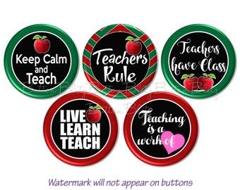 School Teacher Pins, School Teacher Magnets, Teachers Rule Buttons, I Love Teaching Pins, Learning Badge, School Teacher Gift,  - BB1491