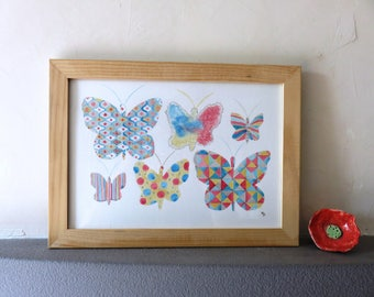 Original watercolor, butterflies, pink, blue, collection, abstract, graphic, multicolored
