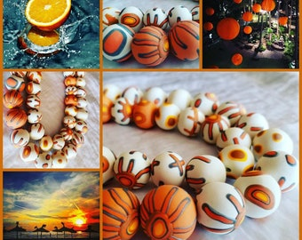 Orange patterned polymer clay necklace