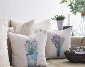 Lavender Pillow Cover | Lavender Throw Pillow | Watercolor Pillow Cover | Farmhouse Cottage Decor