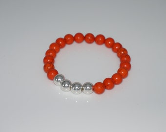 Bright orange Magnesite Bead Bracelet 8 mm with Silver 925/1000 beads