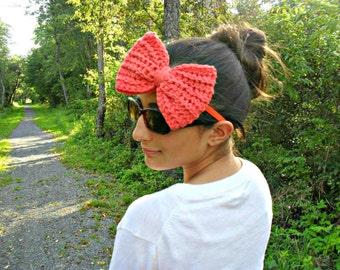 bow tie headband| big bow hair band| orange headband| statement headband