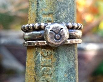Custom Zodiac Stacking Ring Set - Sterling Silver Astrology Ring Set