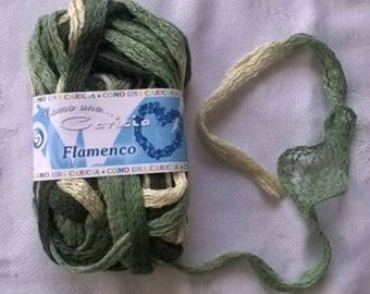 WOOL RUSTLE CARICIA FLAMENCO GREEN BEIGE AND KHAKI 25 GRAMS ABOUT 14 YARDS 37