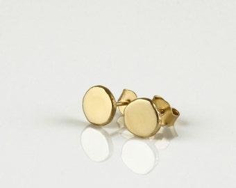 14k stud earrings, gold minimalist earrings, gold post earrings, round gold earrings, simple studs