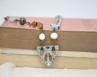 Art Deco Rhinestone Necklace / Victorian Charm Necklace
