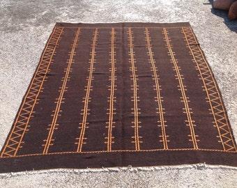 """Black Kilim rug, Embroidered Kilim rug, area rugs, plain black rug, 109"""" x 88"""", kilim rug, kelim rug, vintage bohemian rug, Turkish rug, 262"""